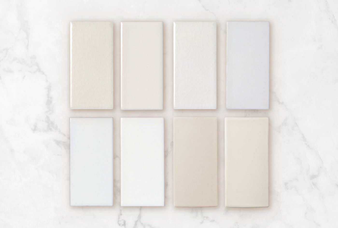 2020 Q1 Fireclay Favorites Whites Magnolia Tusk Frost Daisy White Wash Calcite Ivory Feldspar