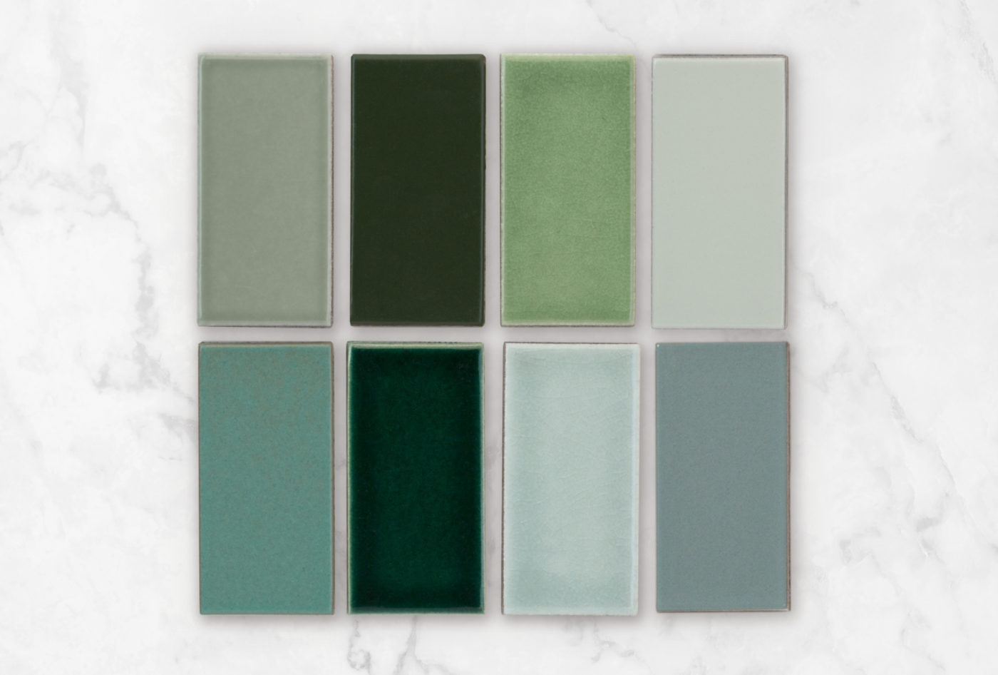 2020 Q1 Photo Fireclay Favorites Greens All Color Samples Rosemary Hunter Green Kelp Oyster Shell Tidewater Venetian Green Salton Sea Flagstone