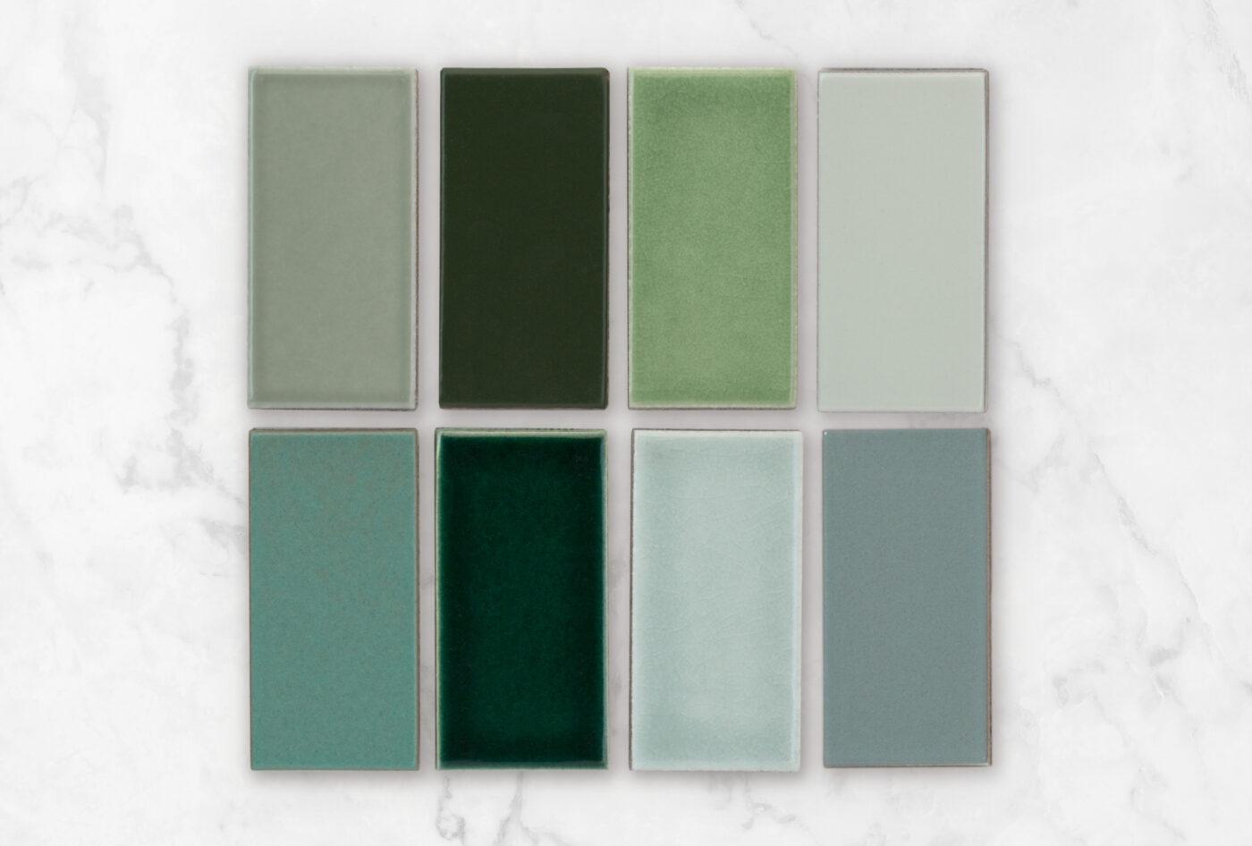 2020 Q1 Photo Fireclay Favorites Greens All Color Samples Rosemary Hunter Green Kelp Oyster Shell Tidewater Venetian Green Salton Sea Flagstone
