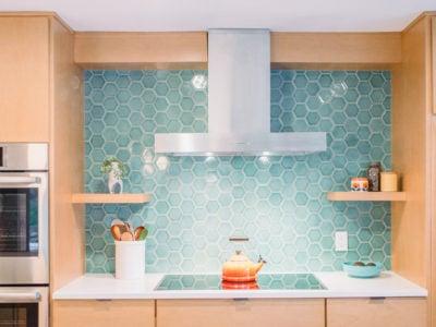 Coastal Blue Hexagon Tile Backsplash