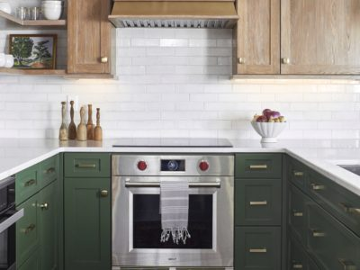Lake House Kitchen with Thin Brick Backsplash