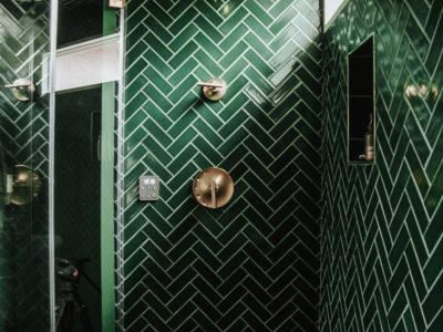 Jewel Tone Evergreen Tile Bathroom