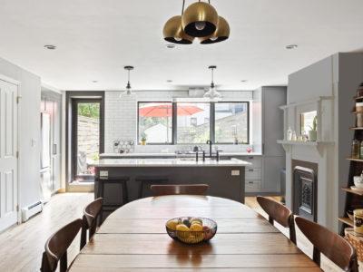 White Thin Brick Backsplash for Brooklyn Kitchen