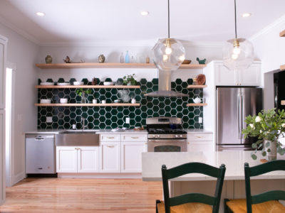 Evergreen Hexagon Kitchen Backsplash