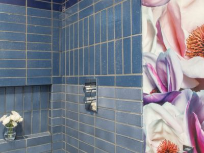Palm Springs Bath: Brick Tile Wall