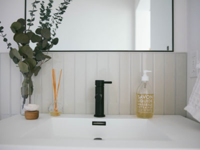 The Nooq: Glass Tile Powder Room