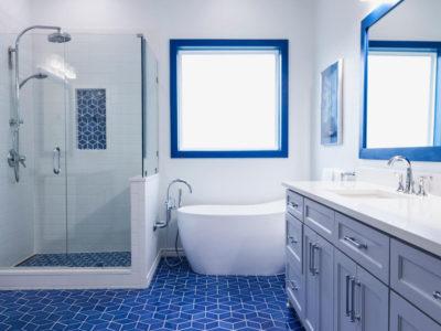 Santorini-Style Patterned Bathroom Floor Tiles