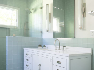 Cool Blue Glass Tile Bathroom