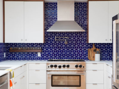 Midcentury Modern Blue Tile Backsplash