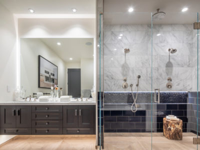 Noz Design: Navy Blue Accent Tile Shower