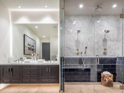 Noz Design: Navy Blue Accent Tile Shower