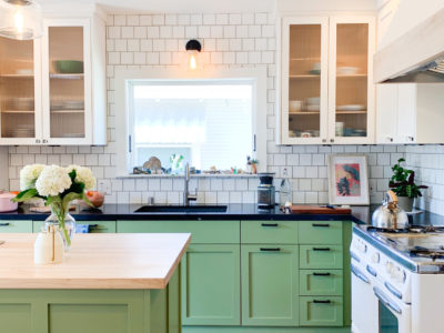 White Subway Tiles and Hexagon Tiles Kitchen
