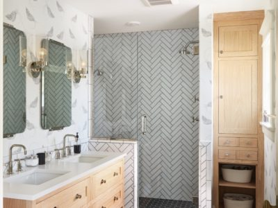 Hygge & West: Black and White Tile Bathroom