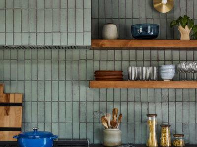 Jessica Davis: Green Glazed Thin Brick Kitchen