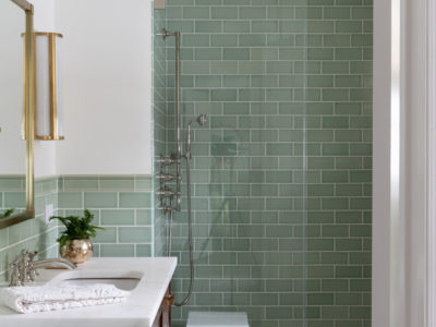 Green Bathroom Tiles with Handmade Tile Trim