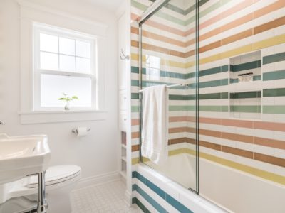Cheery Rainbow Tile Bathroom