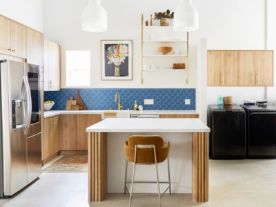 Blue Scalloped Tile for Eclectic Kitchen