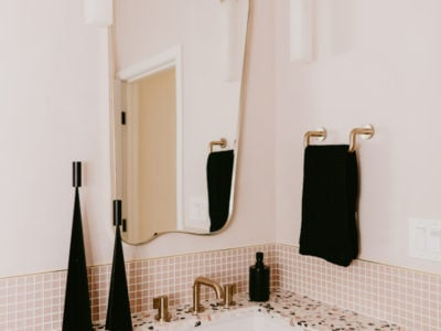 Jaclyn Johnson: Pink Glass Tile Powder Room