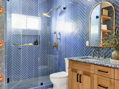 Jaclyn Johnson: Herringbone Matte Blue Glass Tile