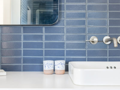 A. Naber Design: Slate Blue Bathroom Tiles