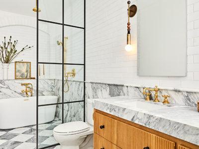 Vanessa Carlton: White Thin Brick Bathroom