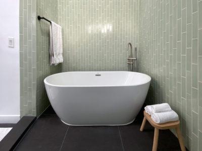 Cool Green Bathroom Tiles in Vertical Offset
