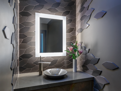 Modernist Retreat feat. Grey Bathroom Tiles