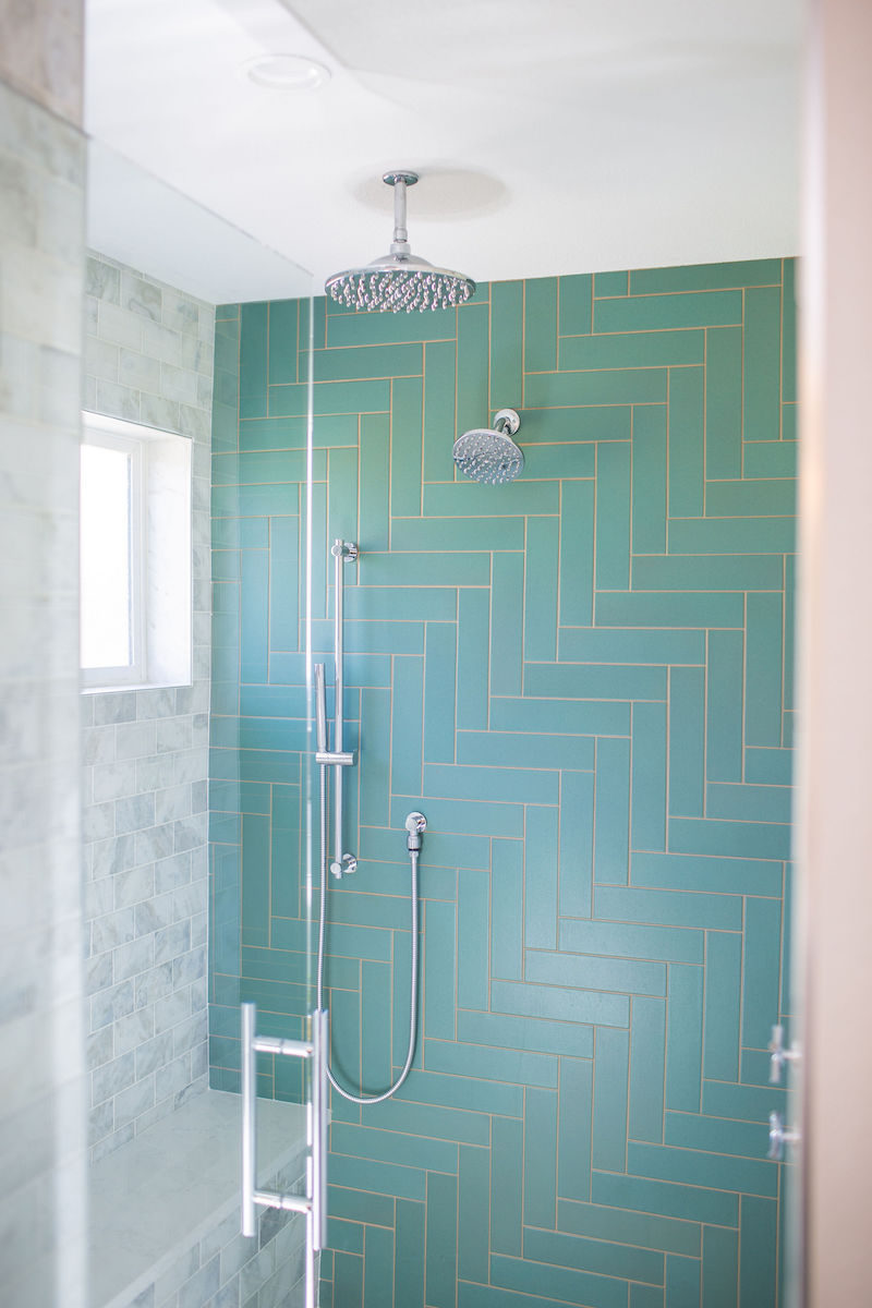 Master Bathroom Herringbone Tile Floor