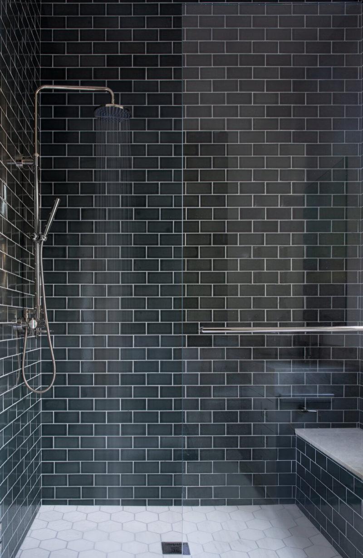 Dark Green Grey Subway Tile Shower