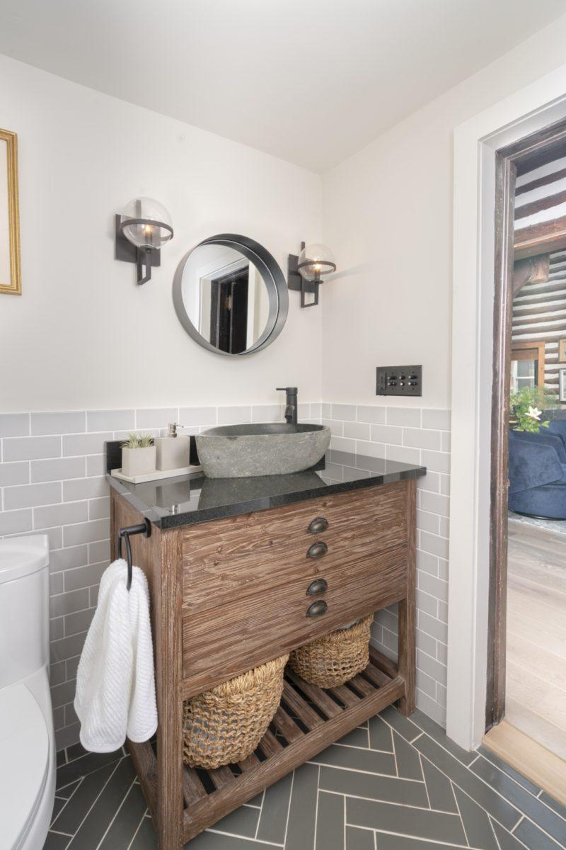 Grey Subway Tile Herringbone Tile Bathroom Fireclay Tile