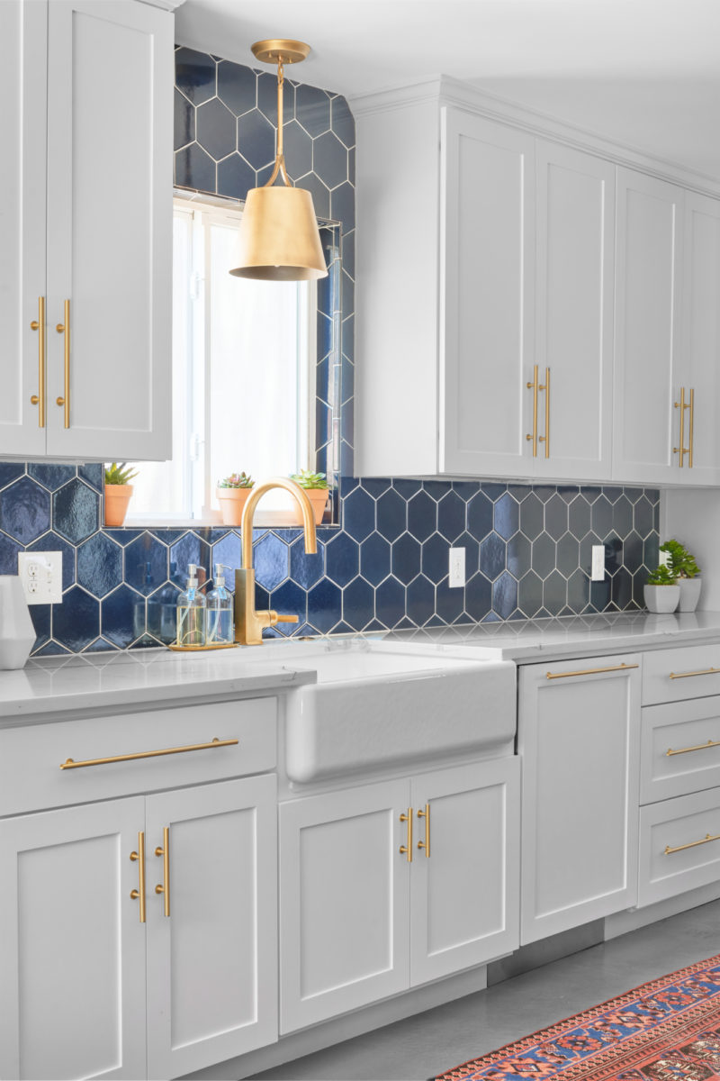 - Navy Blue Hex Backsplash Fireclay Tile