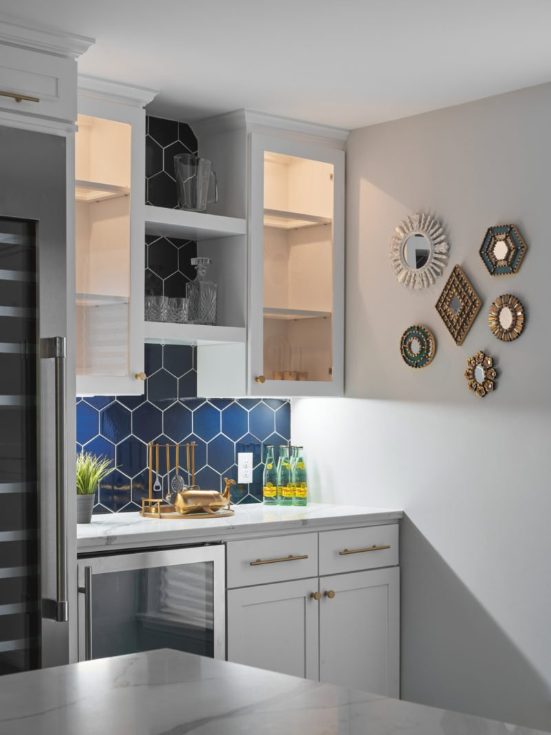 Navy Blue Hex Backsplash Fireclay Tile