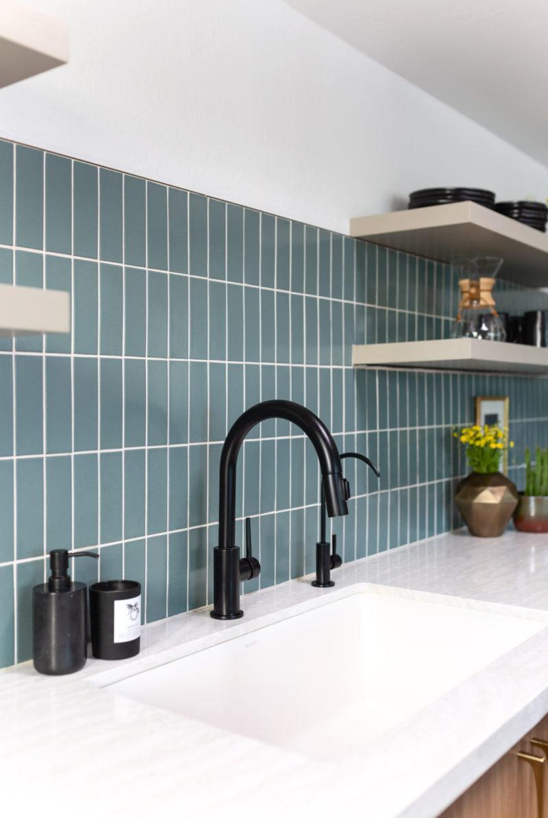 Contemporary Green Blue Kitchen Tiles Fireclay Tile