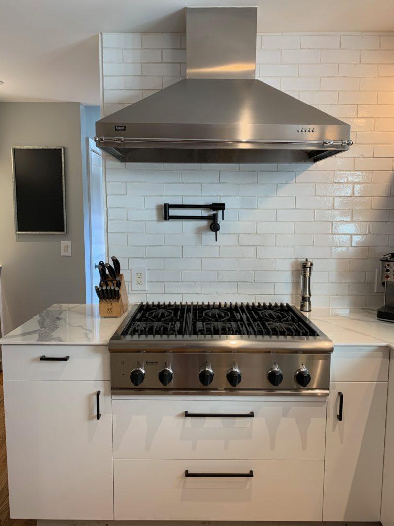 White Brick Backsplash Fireclay Tile