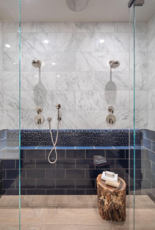 navy blue accent tile showernoz design  fireclay tile