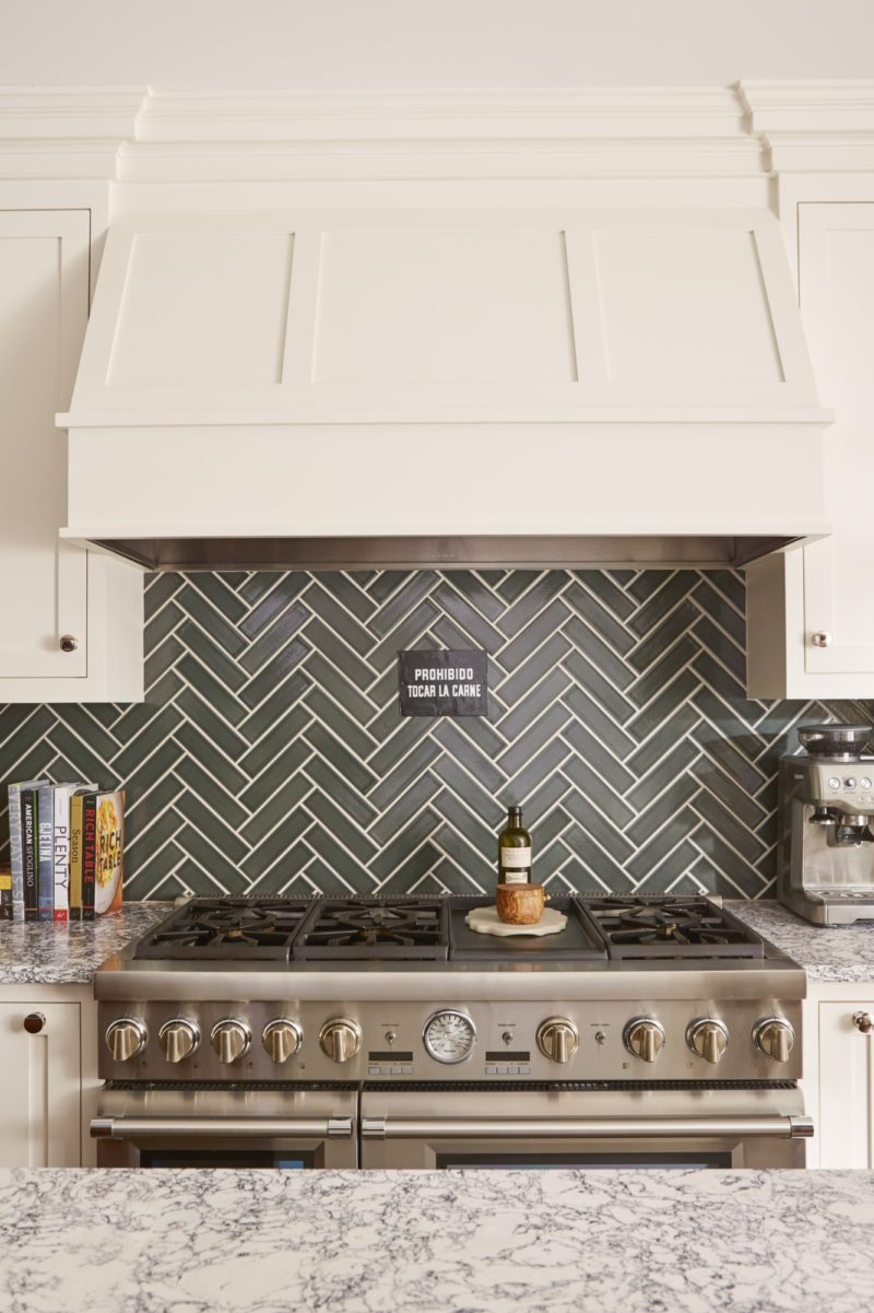 Dark Grey Herringbone Tiles Kitchen Backsplash Fireclay Tile