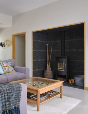 Dark Grey and Blue Wave Tile Fireplace