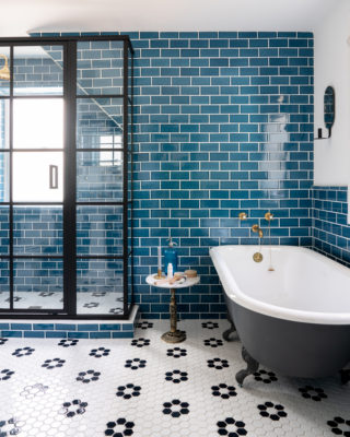 Bright Bazaar: Subway + Mosaic Bathroom Floor Tiles