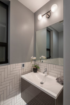 Noz Design: White Bathroom Tiles in Herringbone