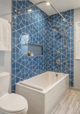 Blue Hex Tile Bath in Adriatic Sea