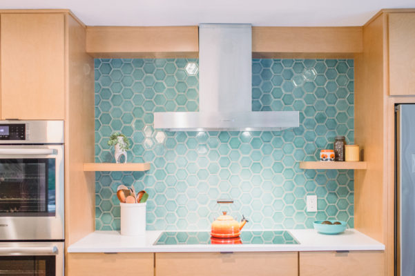 Coastal Blue Hexagon Tile Backsplash