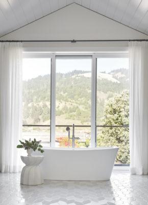 Glossy + Matte White Bathroom Floor Tile