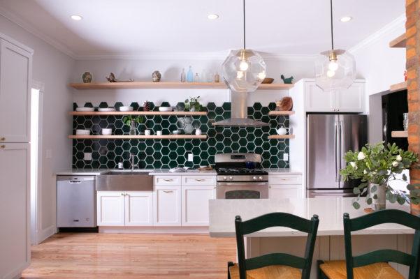 Evergreen Hexagon Kitchen Backsplash