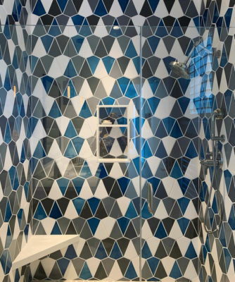 Blended Blue Shower Wall Tile in Kite Pattern