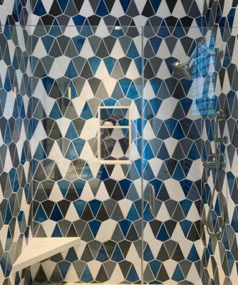 Blended Blue Shower Wall Tile in Kite Pattern