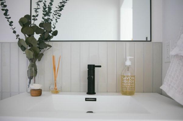 The Nooq: Glass Tile Powder Room