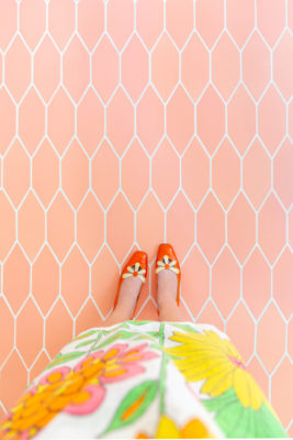 Aww Sam: Pink Picket Floor Tiles