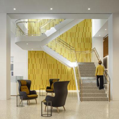 Office Atrium: Custom Ceramic Tile Walls