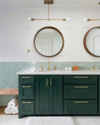 Blue-Green Bathroom Tiles in Ogee