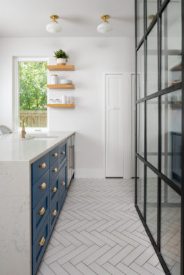 White Herringbone Non-Slip Floor Tiles